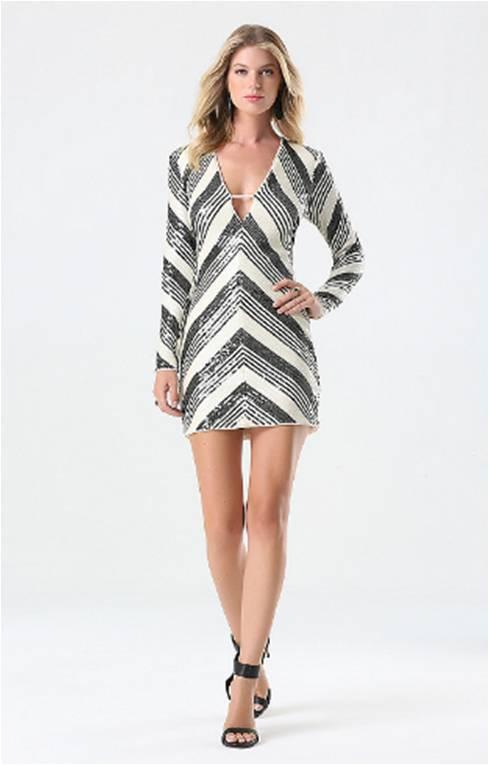 Multi Striped Sequin Dress