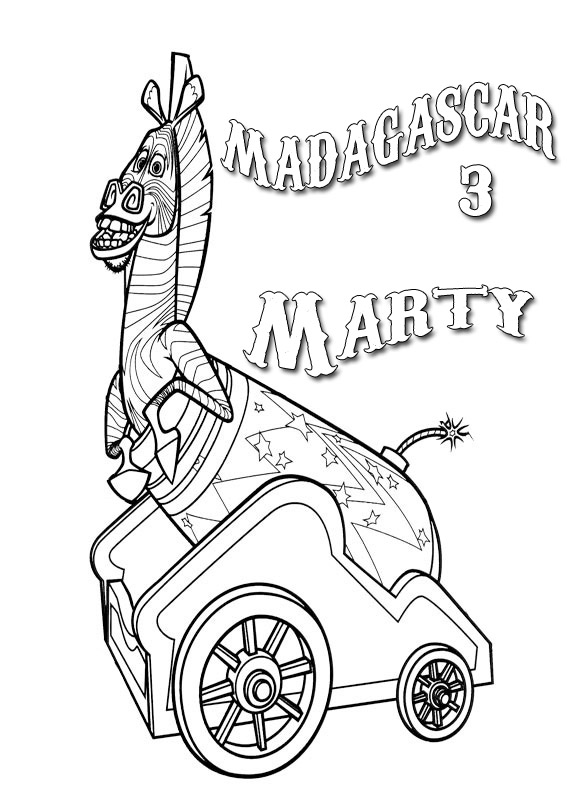 madagascar 3 marty coloring pages - photo#12