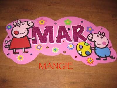 Letrero nombre Peppa Pig
