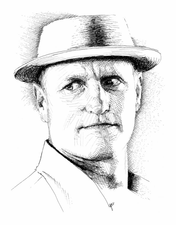 Woody HarrelsonTraditional drawing technique