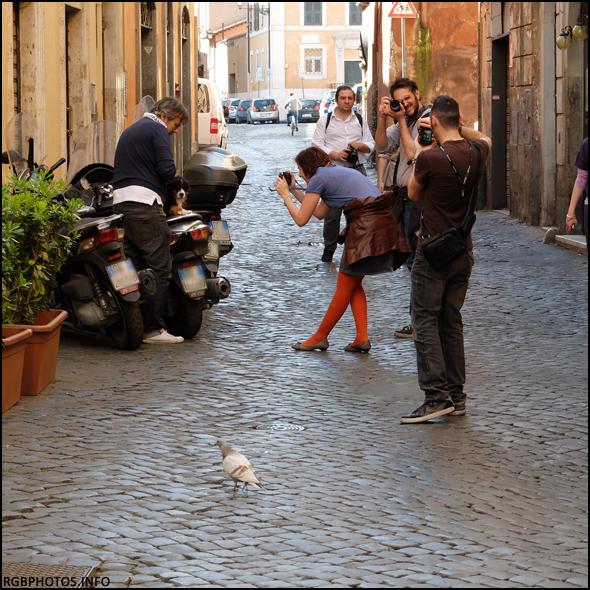 Fotografia di un gruppo di fotografi in un vicolo di Trastevere