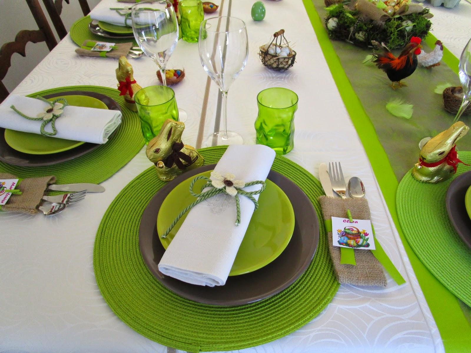 Une table pour les fêtes de Pâques, cette année, aux couleurs anis ...