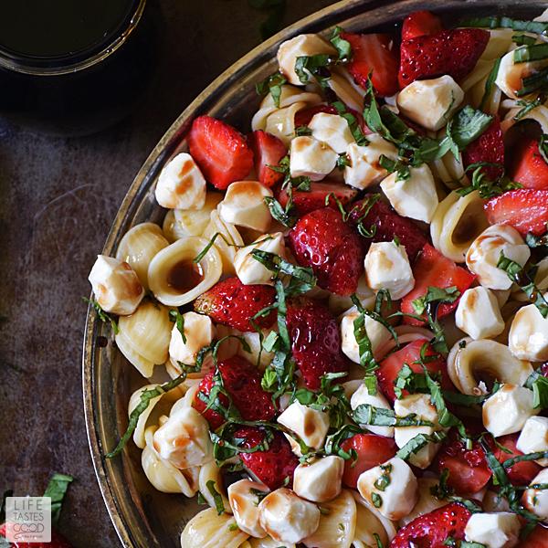 Strawberry Caprese Pasta Salad | by Life Tastes Good