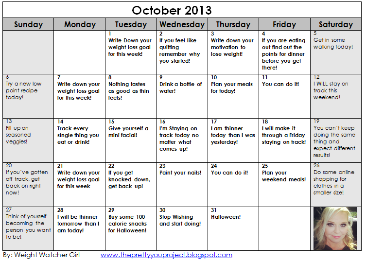 Weight Loss Motivation Printable Calendar! October 2013