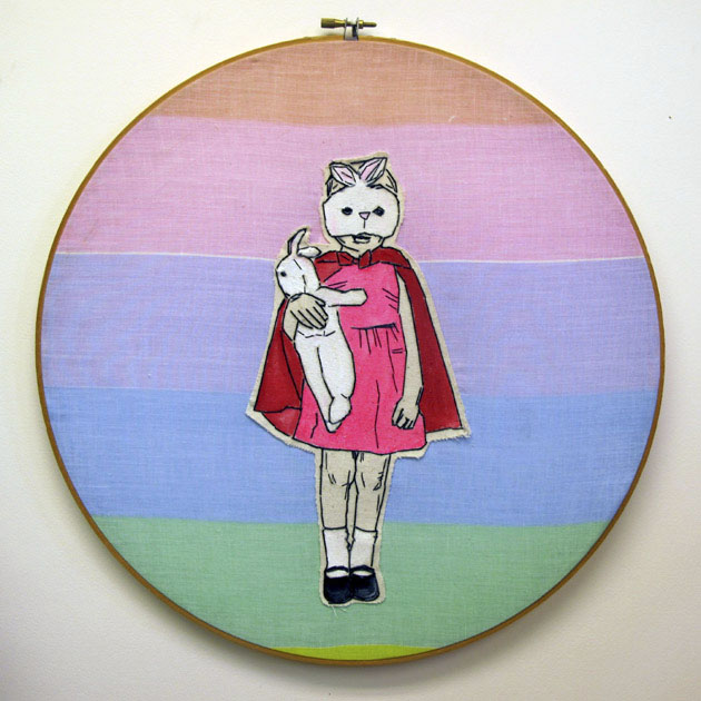 365,bordados,Lucky Jackson,lucky days,embroidery,art,work,niña,girl,conejo,rabbit,rosa