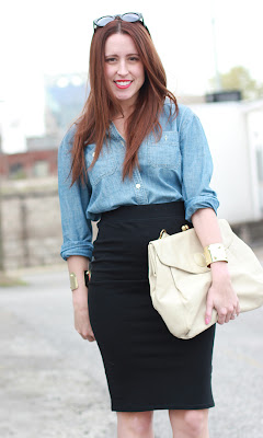 Here & Now : chambray + pencil skirt