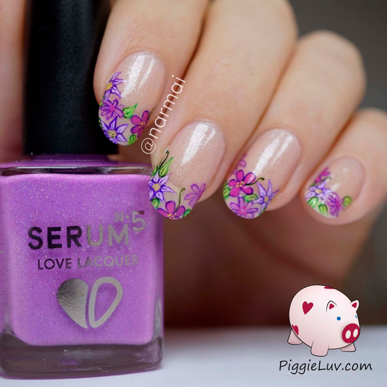 PiggieLuv: Glowing flowing flurple... uhhh purple flowers nail art