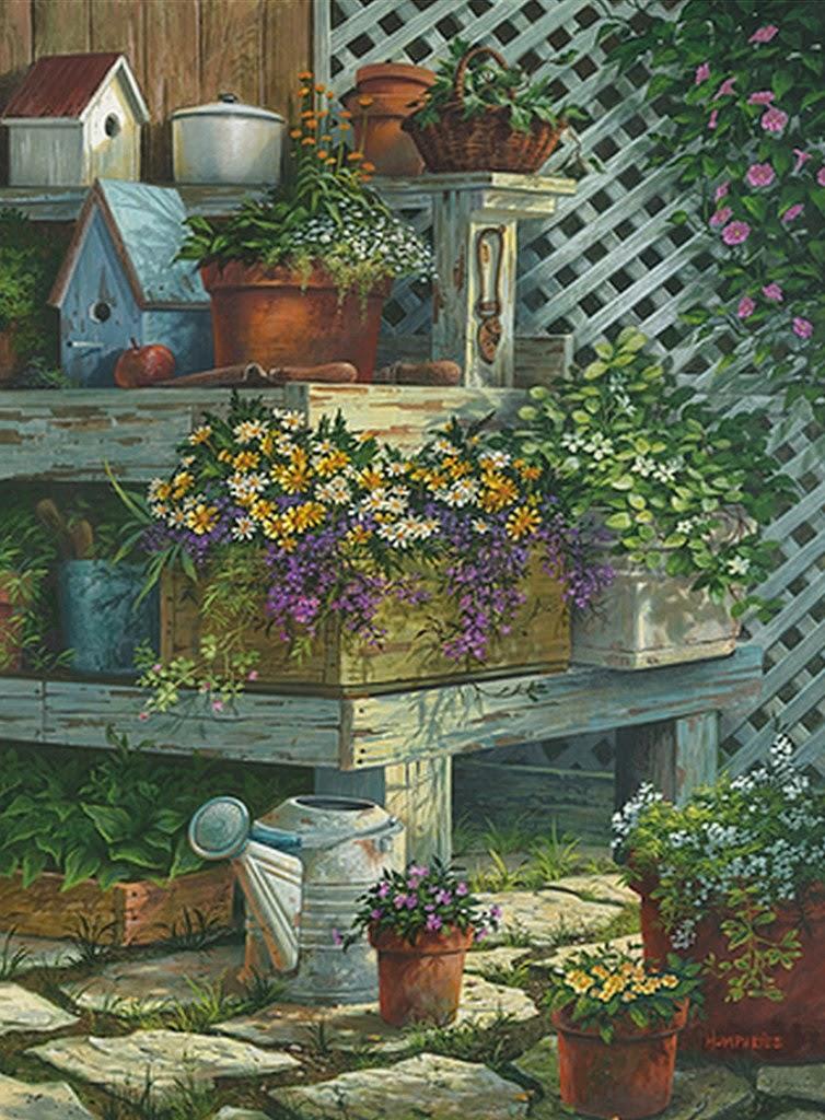 Im genes arte pinturas paisajes con jardines de flores for Casa campo y jardin