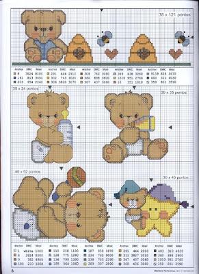 Ursinhos gráficos de ponto cruz infantil