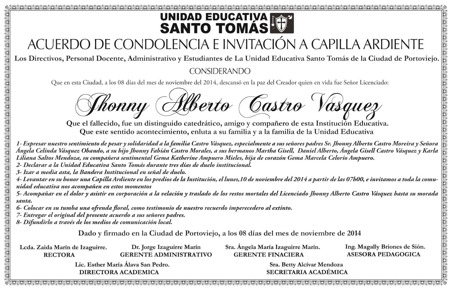 ACUERDO DE CONDOLENCIA   Unidad Educativa Santo Tomás-UEST
