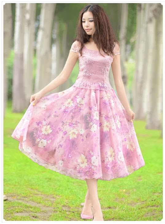 Vintage Rose Two-Tone Embroidery Lace Chiffon Midi Dress