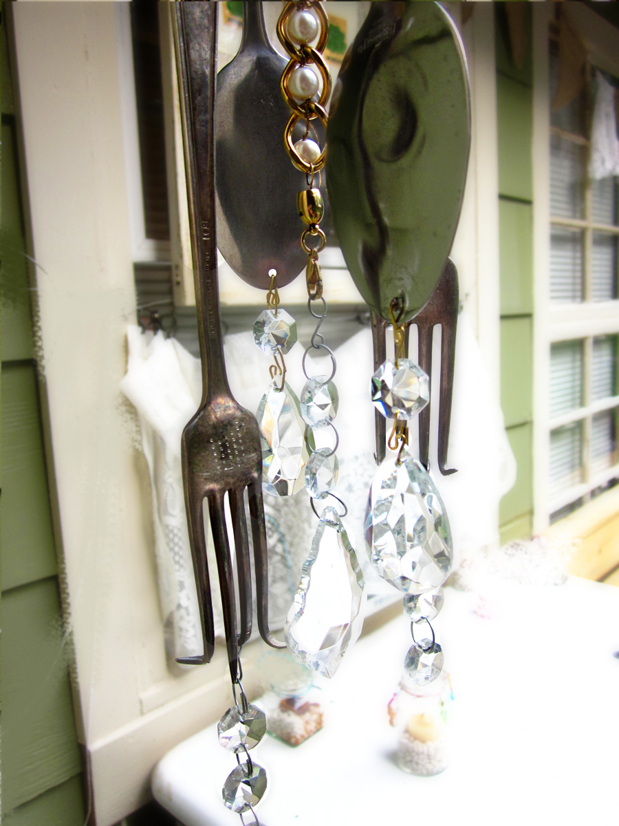 Elegant economies diy wind chimes out of silverware for How to make a windchime out of silverware