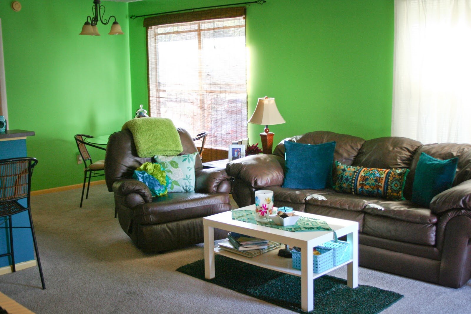 chocolate brown and teal living room viewing gallery