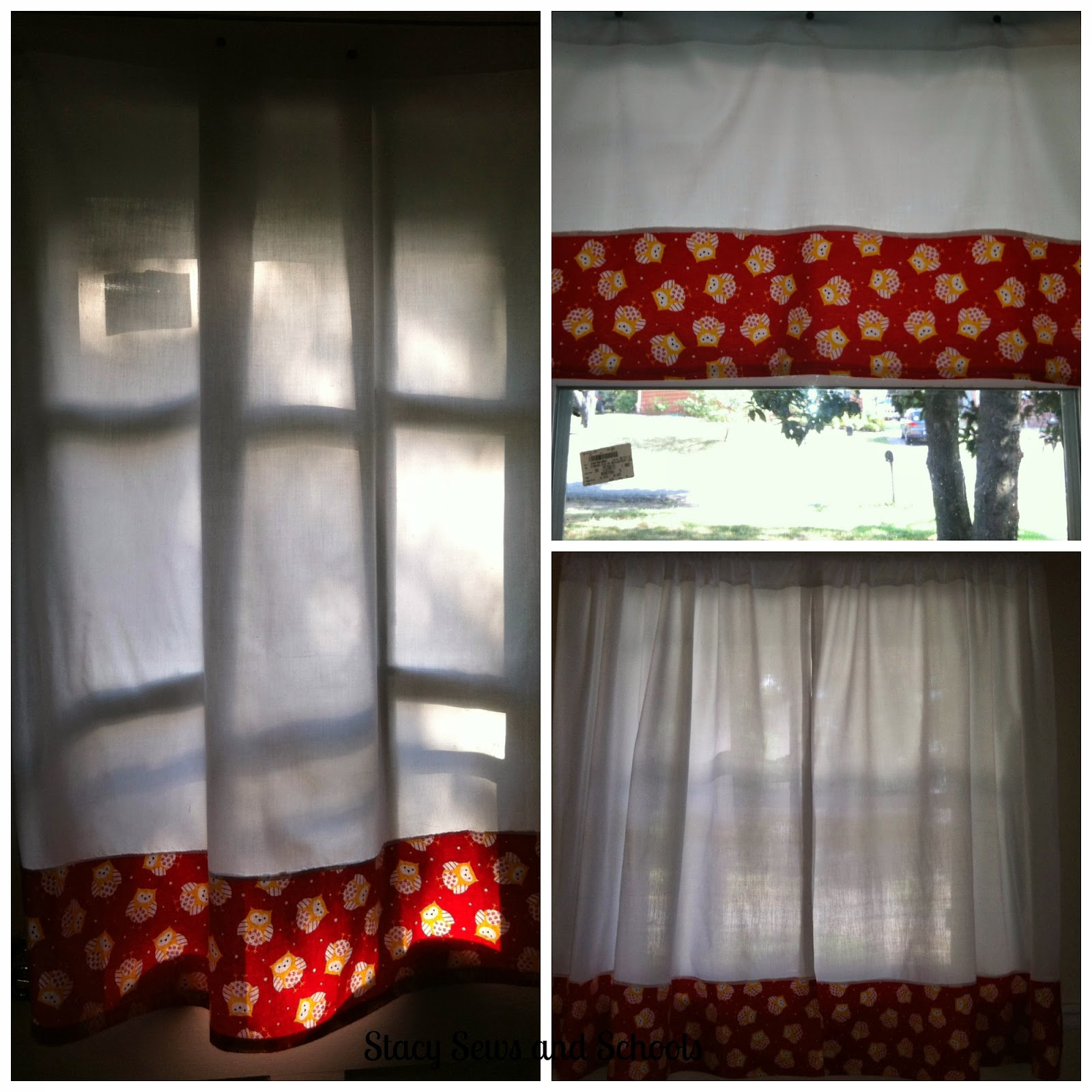 Stacy Sews And Schools: Owl Print Kitchen Curtains