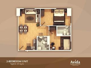 Avida Towers Altura Two Bedroom Unit Plan
