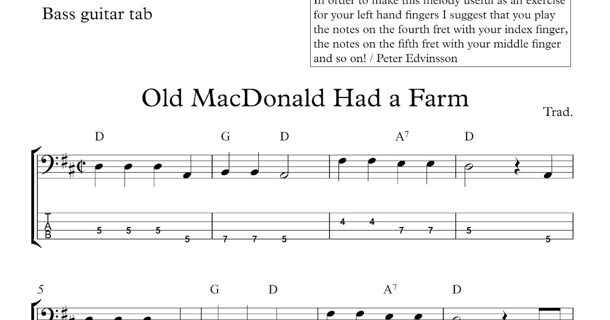 Free easy bass tab sheet music Old MacDonald Had a Farm