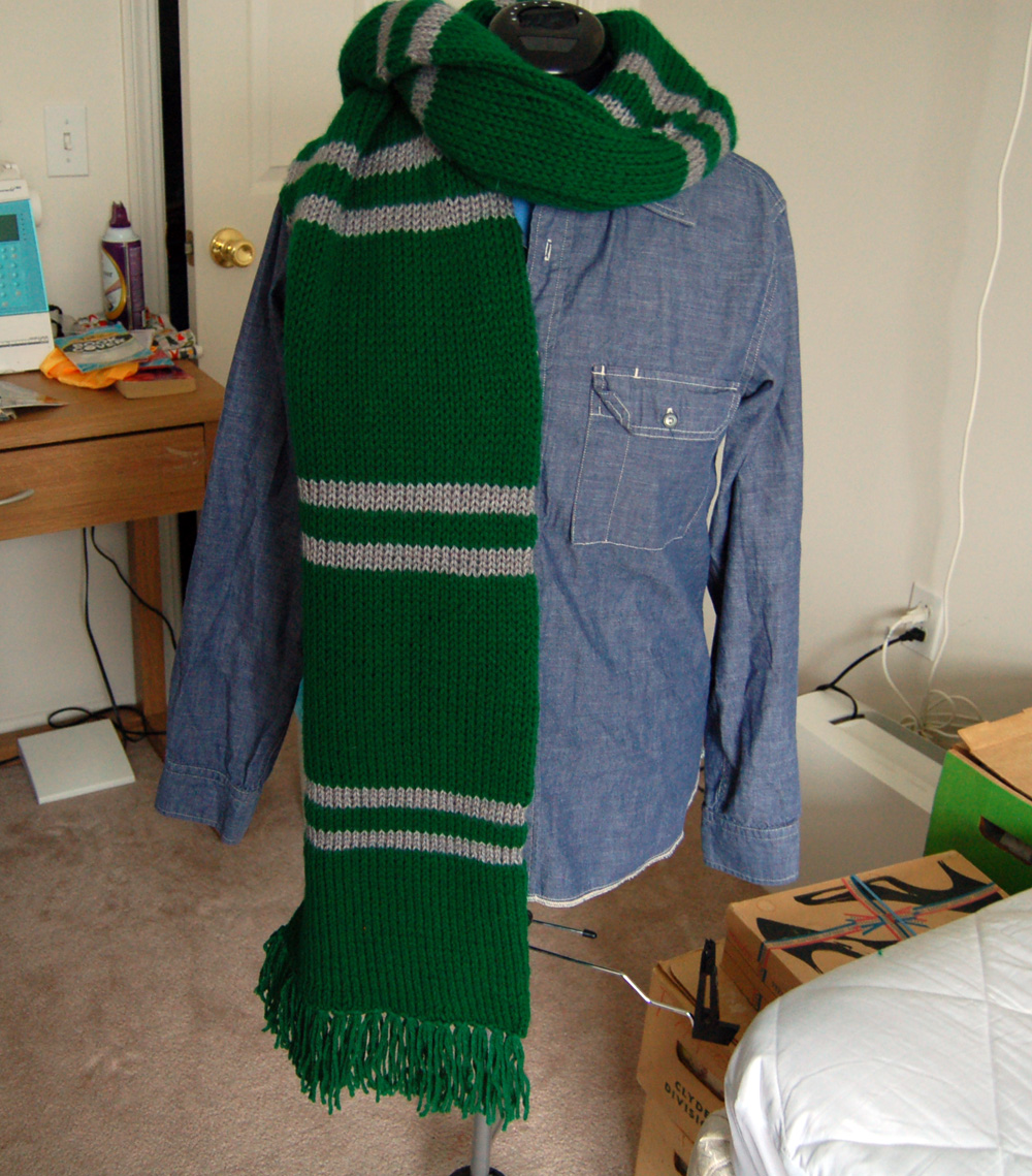 Knitting Pattern For Slytherin Scarf : Anna of CLE: Finally Finished Slytherin Scarf!