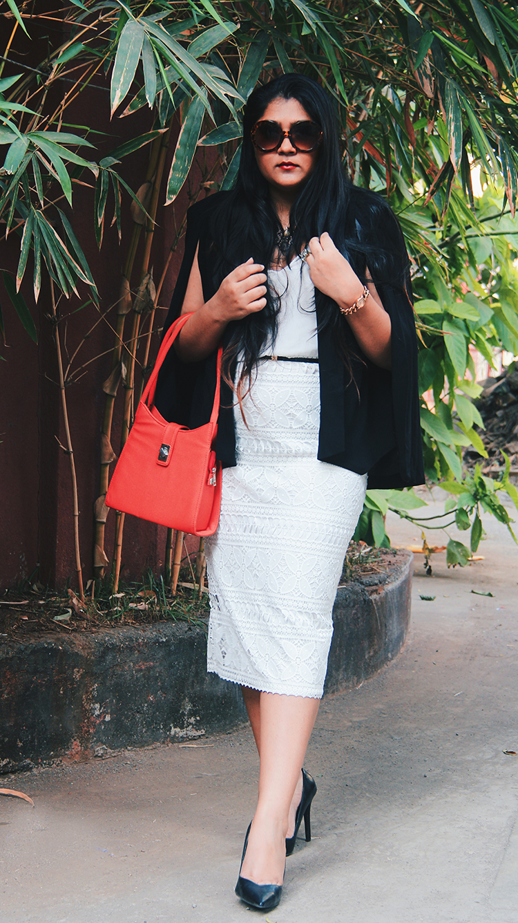 White dress for the office with blazer