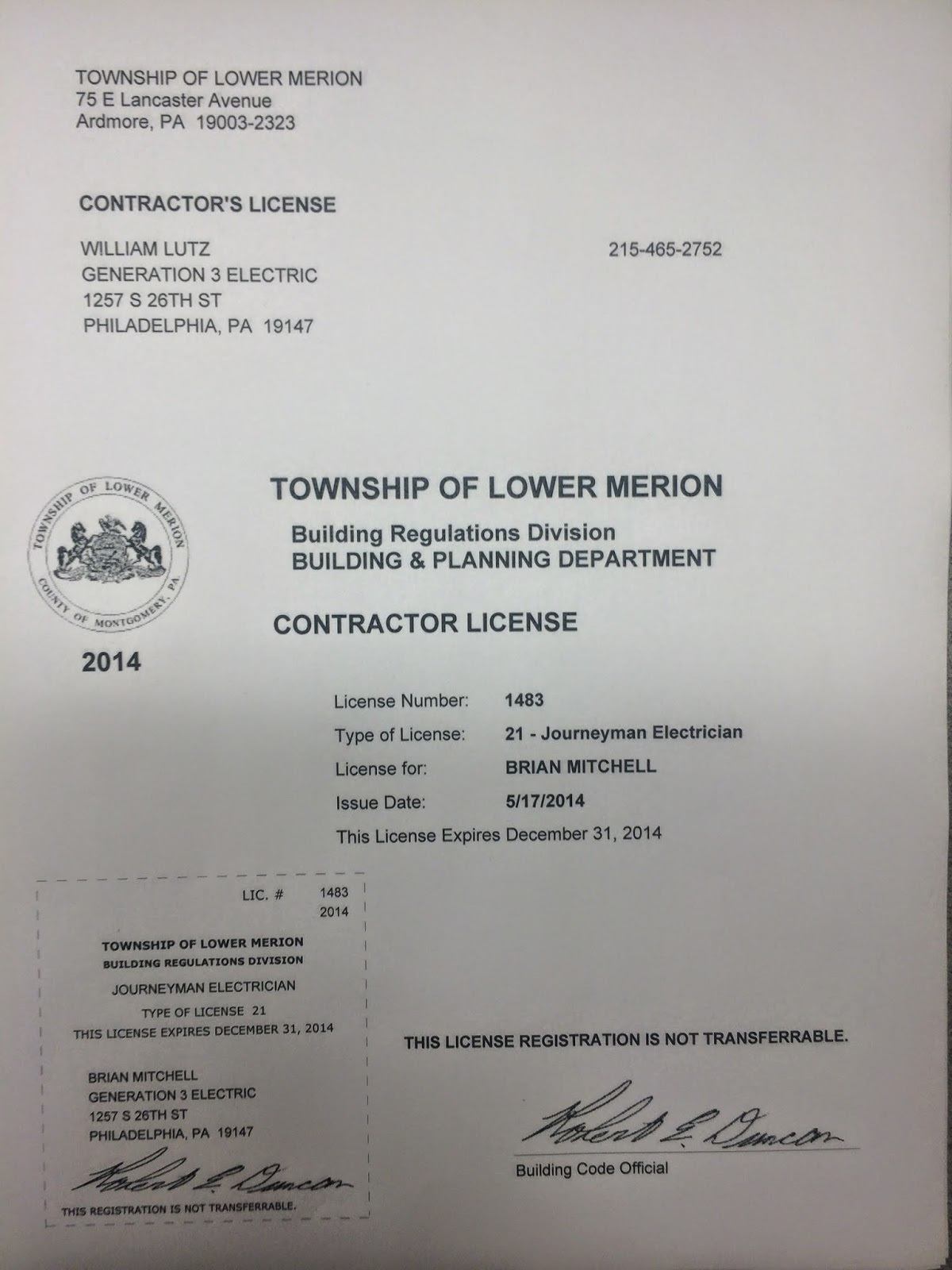 Lower Merion, PA licensed electrician