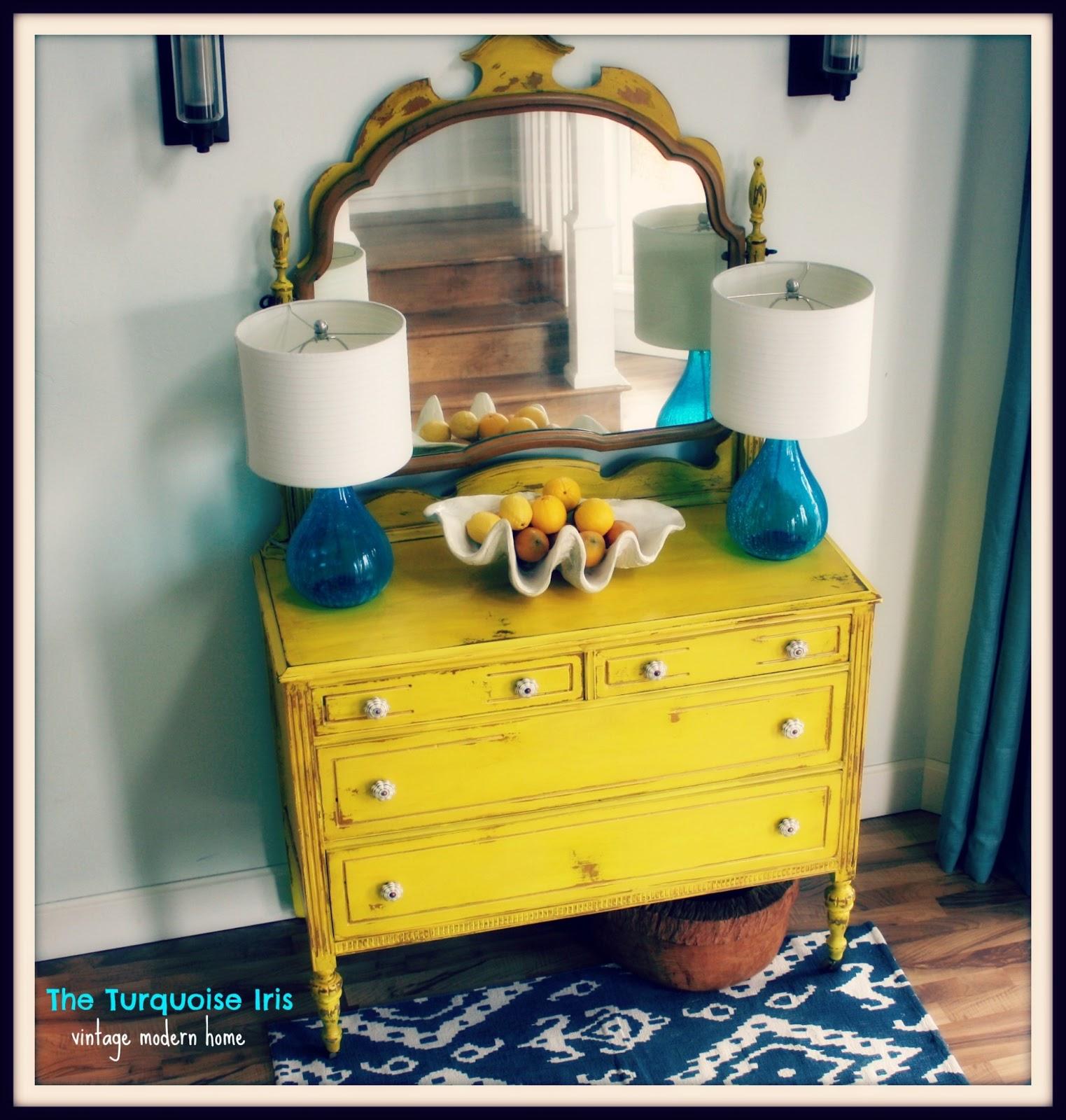 The Turquoise Iris ~ Furniture & Art: Antique Dresser & Mirror in ...
