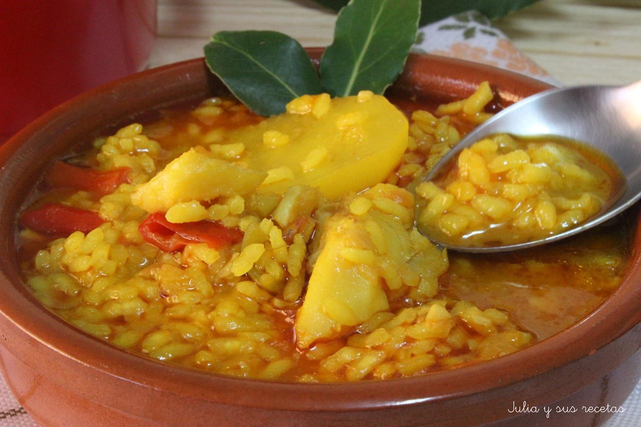 Julia y sus recetas arroz con patatas y bacalao - Bacalao con garbanzos y patatas ...