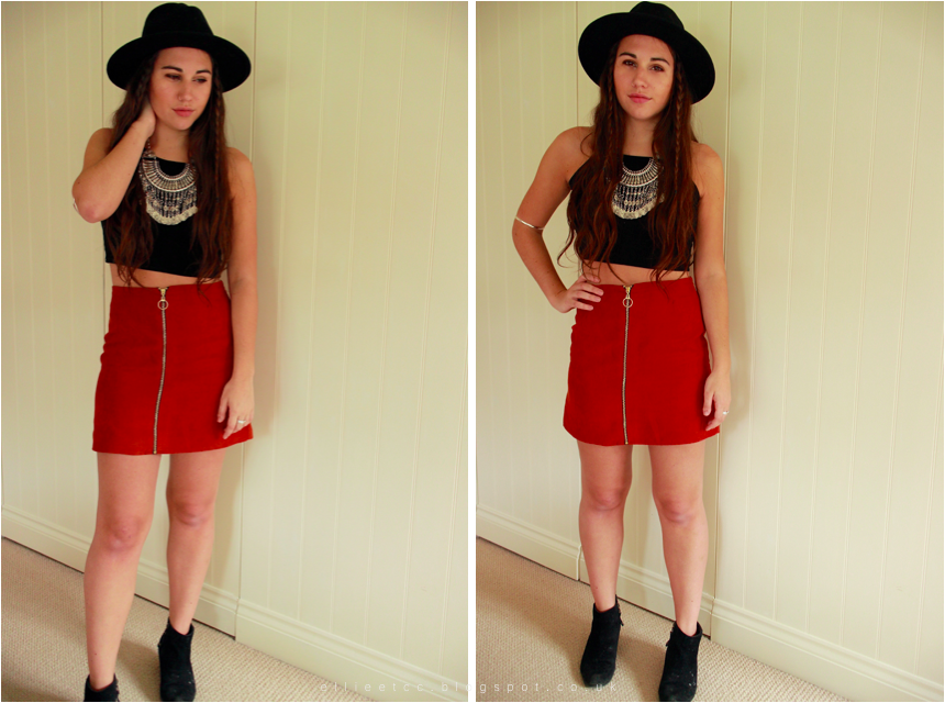 bestival, black boots, crop top, fashion, festival, Happiness Boutique, lookbook, Missguided, Primark, style, suede skirt, topshop, zip up skirt,