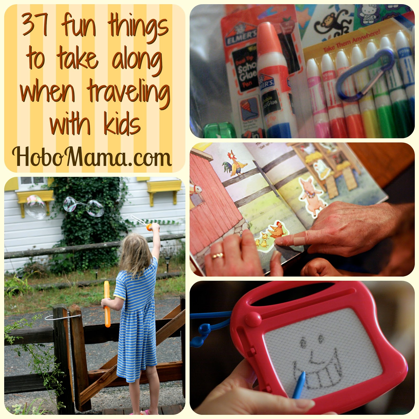 Hobo Mama = 37 fun things to take along when traveling with kids
