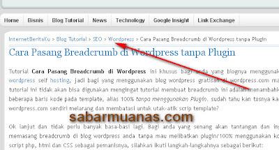 Cara Memasang Breadcrumb Wordpress