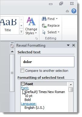 Sử dụng tính năng Reveal Formatting trong Word 2010 3