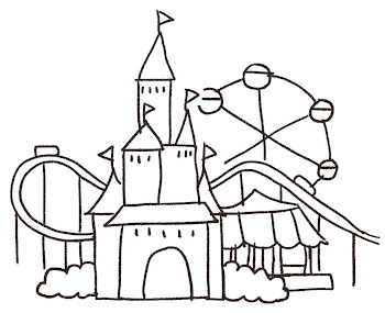 遊園地のイラスト 線画