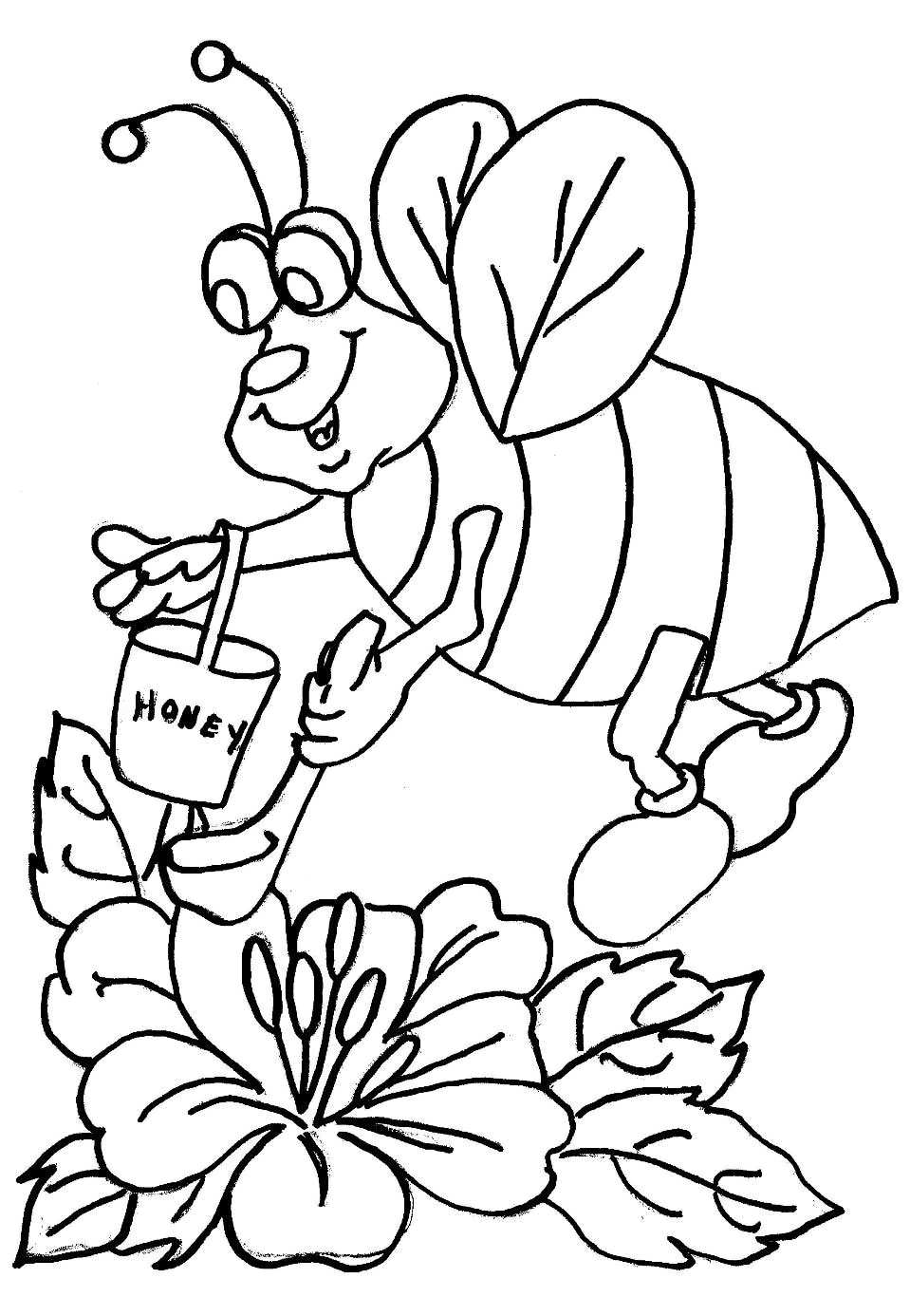 Cartoon Bee Coloring Pages picture