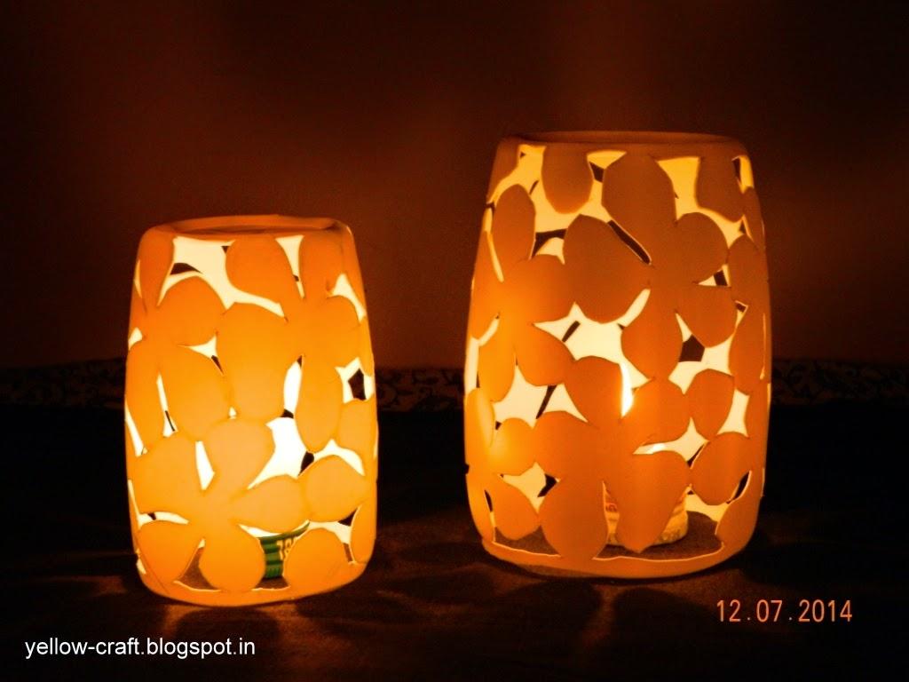 Plastic bottle lamp shade yellow craft aloadofball Images