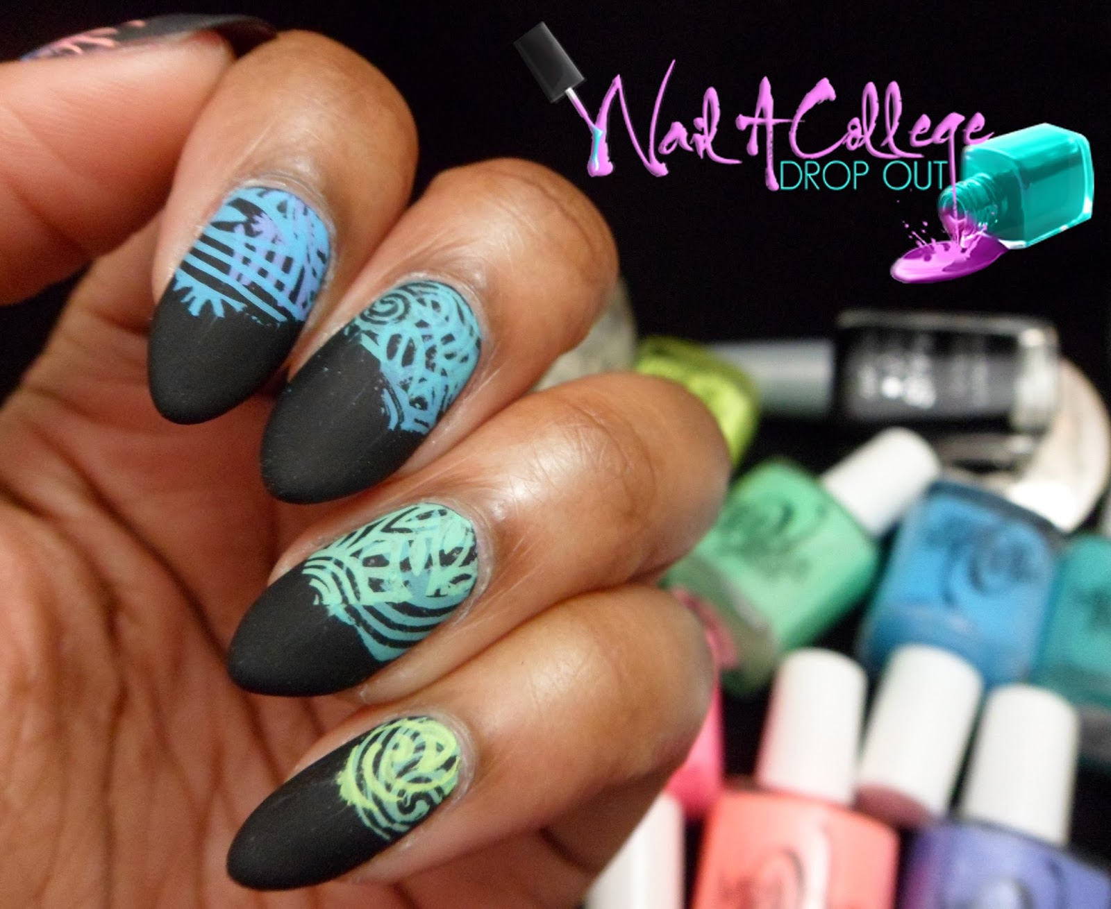 Nail A College Drop Out Abstract Neon Stamp