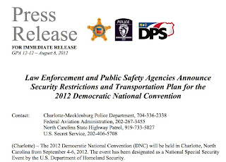Security Plan for 2012 Democatic National Convention