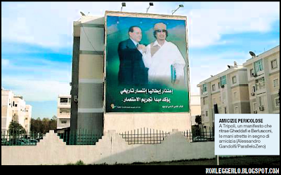 Manifesto a Tripoli di Berlusconi e Gheddafi.