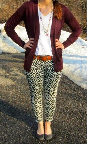 geometric print pants, white tee, boyfriend cardi