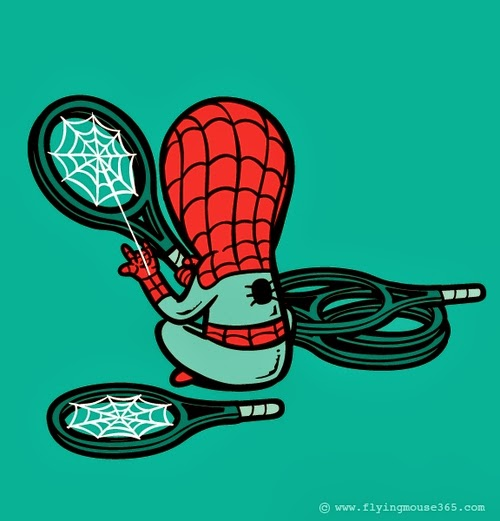 04-Spider-Man-The-Racquet-Maker-Illustrator-Chow-Hon-Lam-Superheroes-Part-Time Jobs-www-designstack-co