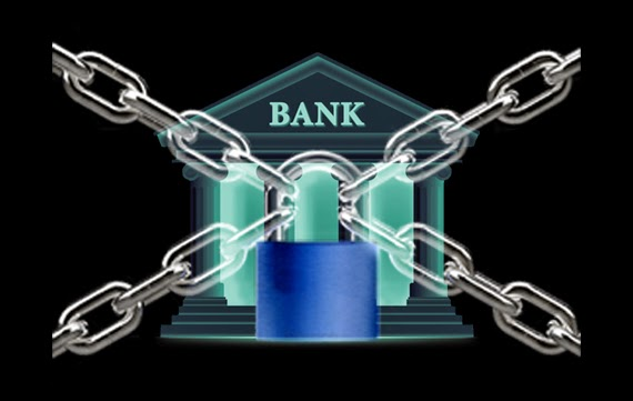 image in black background of an old neoclassic style bank building with chains and a lock in front of it.