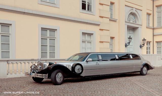 Excalibur Limousine black/ silver. Hochzeitsauto, hochzeitslimousine.