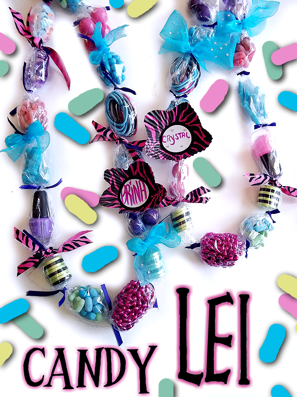 Graduation or Luau Party Candy Lei made with Zours sour candies! #ZoursFace #Shop