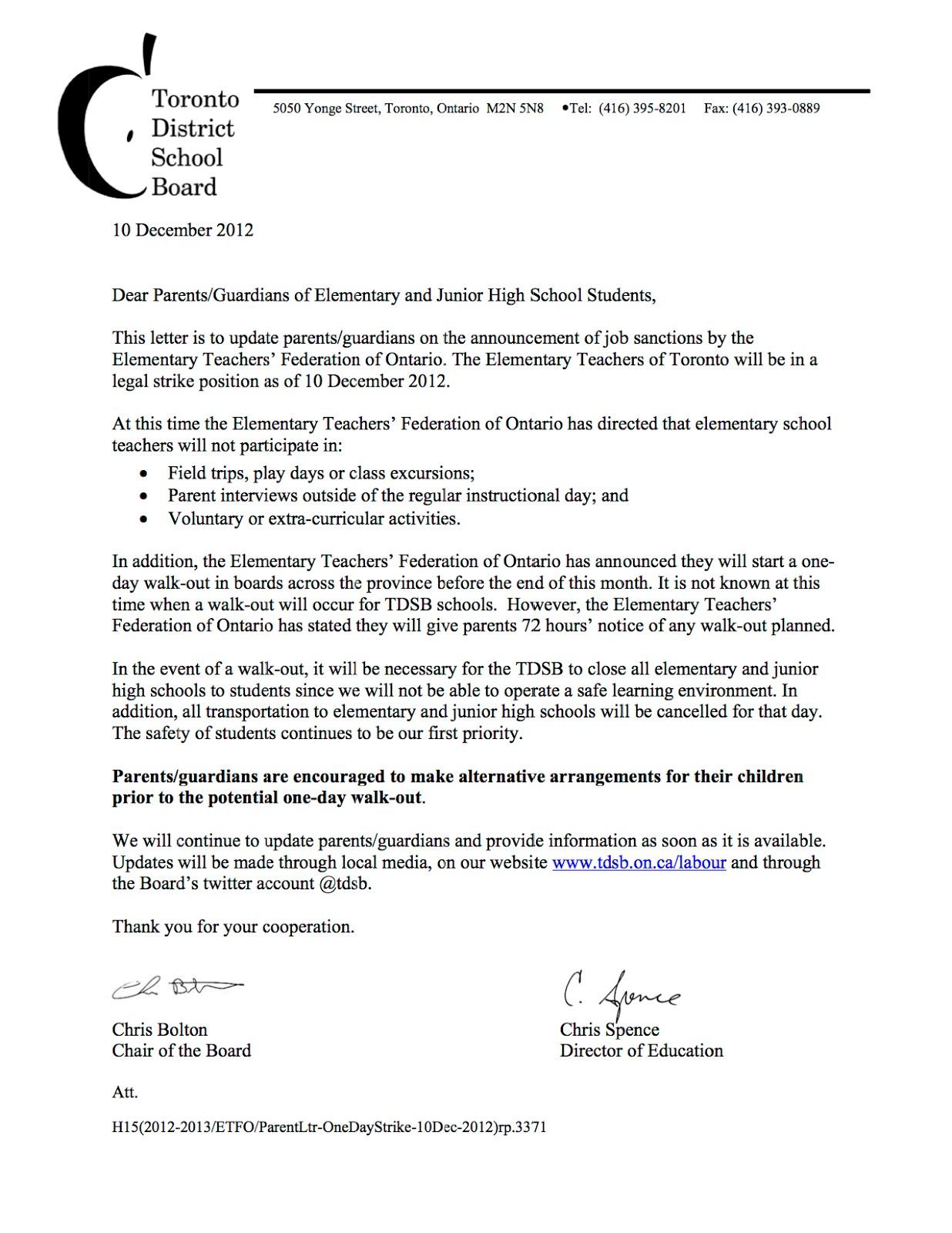 clairlea school council: no more field trips, excursions or extra