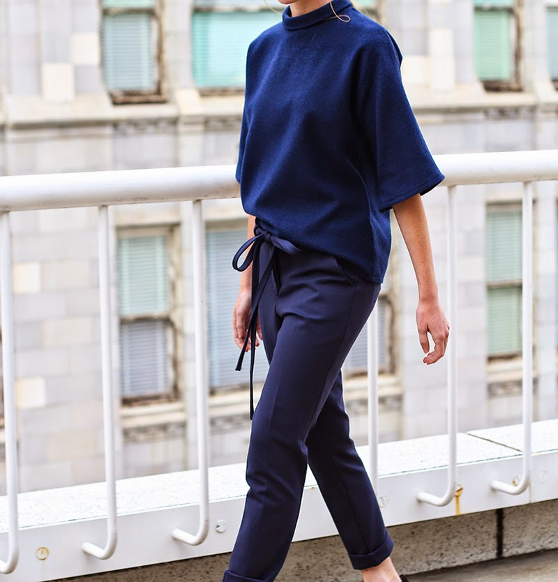 trousers, navy trousers, cigarette trousers, couture, alyssa nicole, alyssa nicole fall 2014, kimono blouse, wool blouse, turtle neck blouse, san francisco fashion, sf style