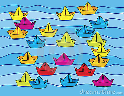 simple painting of brightly colored paper boats on blue water