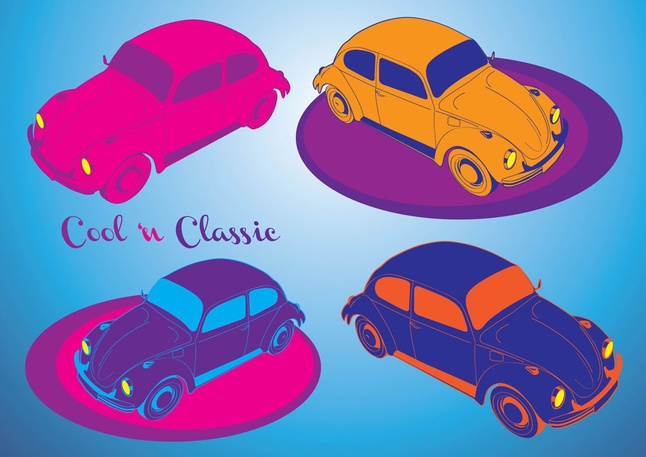 Beetle Cool Cars Colorful Vector