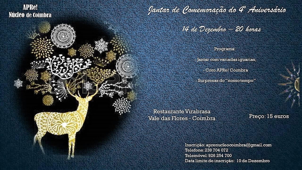 Núcleo APRe! de Coimbra, jantar comemorativo do 4º aniversário da APRe!
