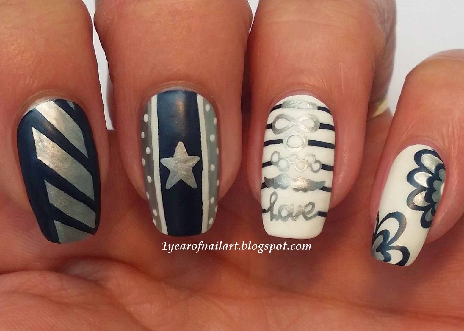 365+ days of nail art: Matte mix and match nails (blue, silver & white)