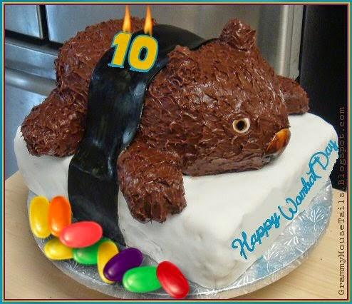 wombat cake - wombat day cake-chocolate cake - winegums- photo