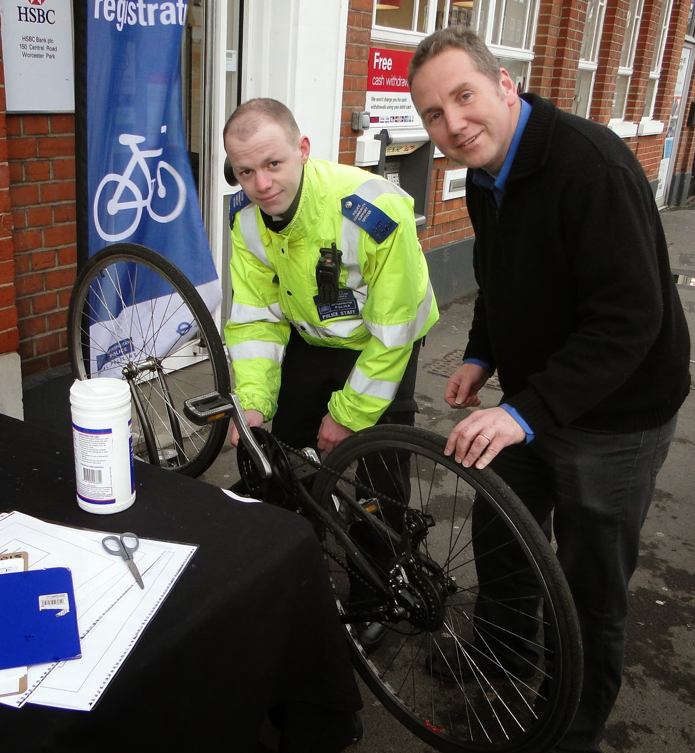 Simon Densley with police marking his bicycle