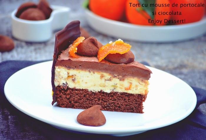 Tort cu mousse de portocale si spuma de ciocolata