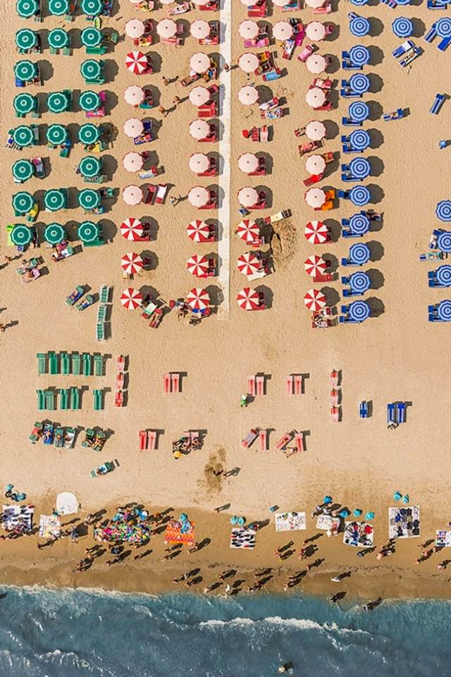 Spectacular Aerial Photography of Crowded Beach by Bernhard Lang
